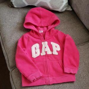 4/$20! baby GAP pink fleece zip-up hoodie